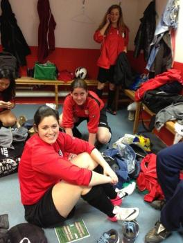 Organiser and new first team manager Laura 'Dodge' Bint taking easy before the game.